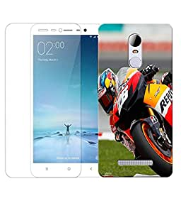 Indiashopers Combo of Biker HD UV Printed Mobile Back Cover Case and Tempered Glass For Xiaomi Redmi Note 3