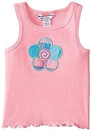 Hartstrings Baby Girls\' Rib Knit Flower Tank Top, Boca Pink, 12 Months