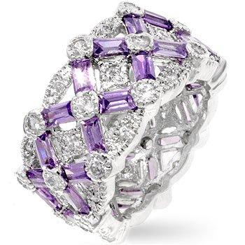 Celebrity Amethyst CZ Diamond Silver Eternity Rings