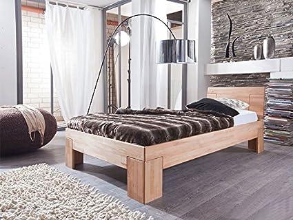 SAM® Sienna Holzbett 90 x 200 cm aus Kernbuche, massives Bett in naturlichem Design, hohes geschlossenes Kopfteil, klassisches Buche-Bett fur Ihr Schlafzimmer