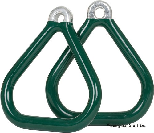 Commercial Coated Triangle Trapeze Rings (Pair) (Green) With Sss Logo Sticker