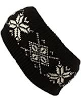 Winter Ladies Girls Thick Knit Snowflake Headwrap Headband Ski Snow Skate Black