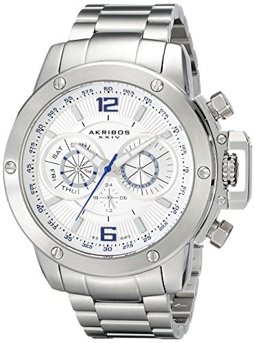 Akribos XXIV Akribos XXIV Men's AK604WT Conqueror Multi-Function Stainless Steel Swiss Quartz Bracelet Watch