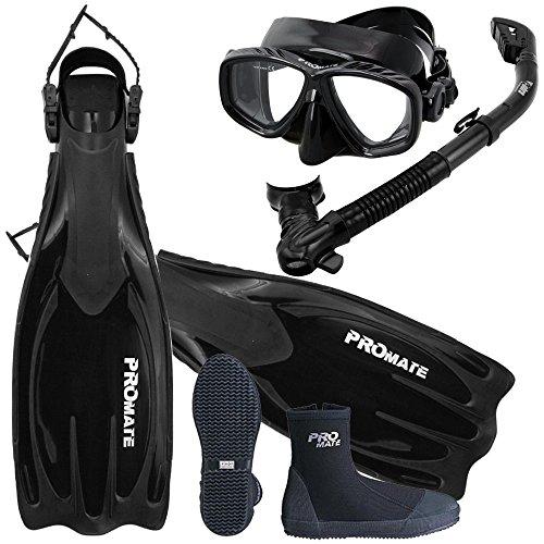 Scuba Dive Fins Boots Dry Snorkel Mask Gear Set, AB, Mens 9 / Womens 10 (Snuba Gear compare prices)