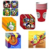 Disney Mickey Mouse Clubhouse Playtime Deluxe Party Supplies Pack Including Plates, Cups, Napkins and Tablecover - 8 Guests