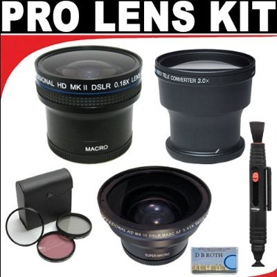 .18X Hd Professional Super Wide Angle Panoramic Macro Fisheye Lens + 3X Digital Telephoto Professional Series Lens + 0.43X Digital Super Wide Angle Macro Professional Series Lens + 3 Piece Filter Kit + Lenspen Cleaning System For D3X, D3, D2Xs, D2Hs, D2X,