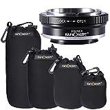 K&F Concept 4pcs S/M/L/XL Size Black Soft Protective Neoprene Lens Pouch Bag + Lens M