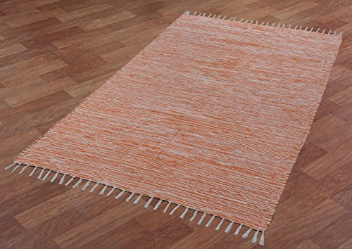 Complex Chenille Flat Weave Rug, 8-Feet by 10-Feet, Orange