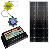 51W3%2B7tGaHL. SL160  HQRP KIT (85 Watt Solar Panel 85W Power 12V Monocrystalline 12 Volt, Solar 10A Charge Power Controller / Regulator 12V / 24V 10 Amp) + HQRP UV Chain / UV Radiation Health Tester