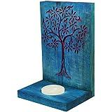 Indian Artisans Online Wooden Tealight Candle Holder (15 Cm X 10 Cm, Blue)