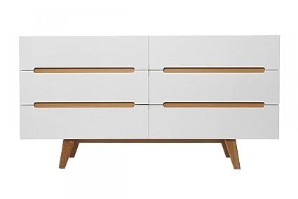 Sideboard Linsell lV Highboard Kommode weiß soft-close Eiche MDF modern Design