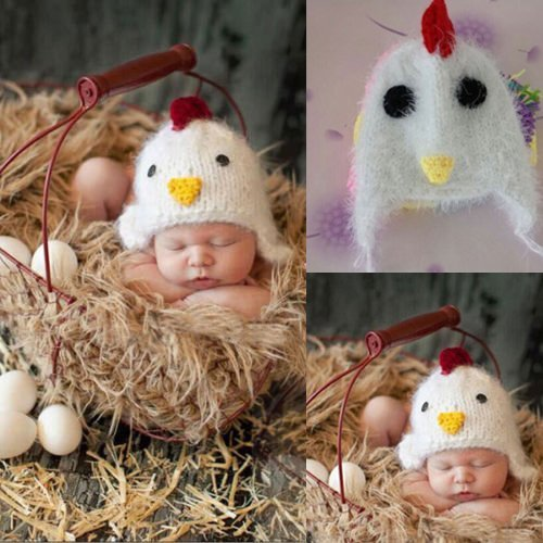 Newborn Baby Hat Chicken Knit Winter Warm Beanie Fuzzy Hats Photography Props by Hongkong