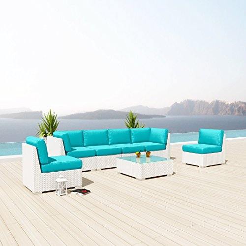 Uduka Outdoor Sectional Patio Furniture White Wicker Sofa Set Daly 7 Turquoise All Weather Couch