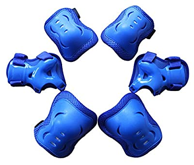 Kid's Roller Blading Wrist Elbow Knee Pads Blades Guard 6 PCS Set in blue by Top Sources