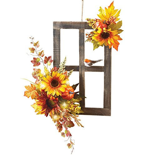 Fall Window Wall Art with Sunflowers and Bird