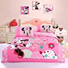 Mickey and Minnie Mouse Queen Adults Cartoon Bedding Set 4 Pcs Cotton Bed Sheet T31 Pink Linens Doona Duvet Cover and 2 Pillowcase