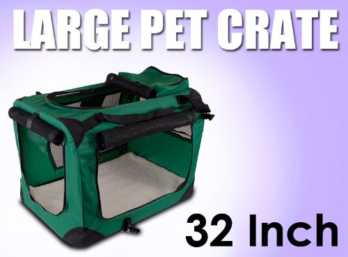 New Large Dog Pet Puppy Portable Foldable Soft Crate Playpen Kennel House - Green front-1028216