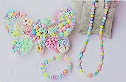 DIY Acrylic Beads Kit Set for Girls, Beads Toys for Improving Kids\' Eyesight, Training Tool for Amblyopia Kids (400 Beads + 10 Meters Beads String)