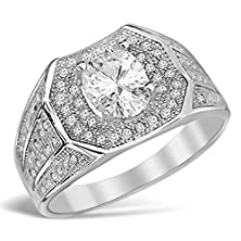 buy Mens Sterling Silver Oval Center Cubic Zirconia Fashion Wedding Ring - 10