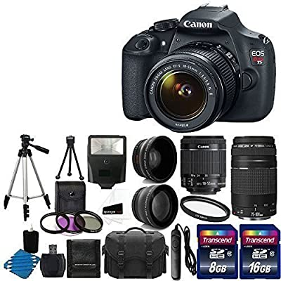 Canon EOS Rebel T5 18MP EF-S Digital SLR Camera USA warranty with canon EF-S 18-55mm f/3.5-5.6 IS [Image Stabilizer] II Zoom Lens Bundle