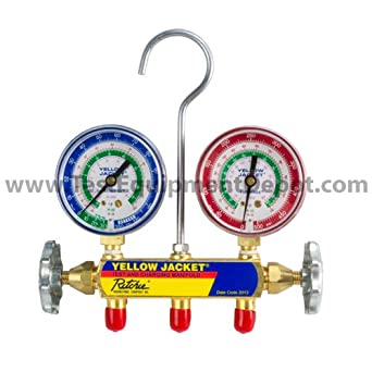 """Yellow Jacket 41215 Series 41 Manifolds with 2-1/2"""" Gauges, 60"""", psi, R-12/22/502, Red/Yellow/Blue"""