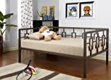 Brown Metal Twin Size Miami Day Bed (Daybed) Frame With Metal Slats