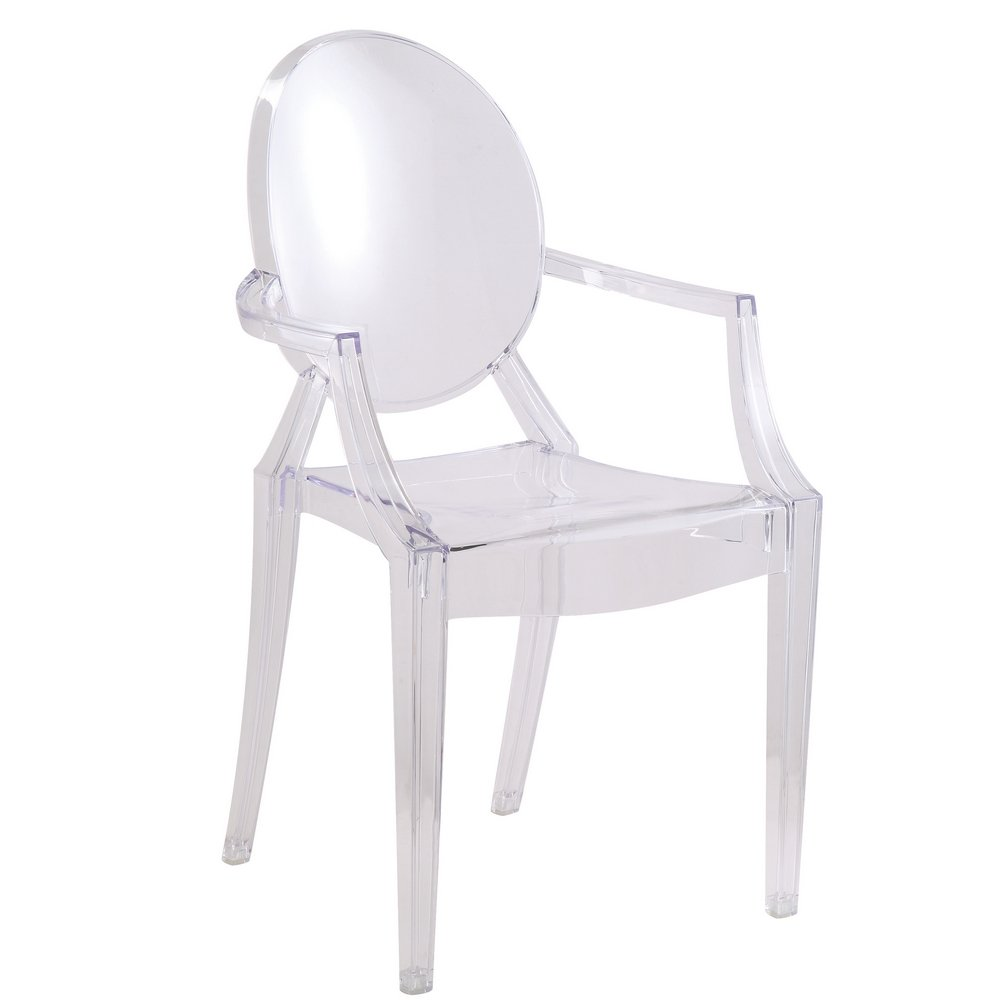 modern louis xiv arm chair in clear silver set of 2