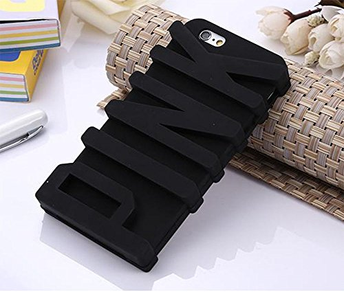 iPhone 6 Case, JEPN 3D PINK big letters Silicone Case for the Apple iPhone 6 4.7 inch Black