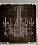 Rustic Wooden Planks Crystal Chandelier Fashionable House Decoration Bathroom Textile Modern Special Collection Decorative Item Elegant Decor Polyester Fabric Shower Curtain, Brown Pink