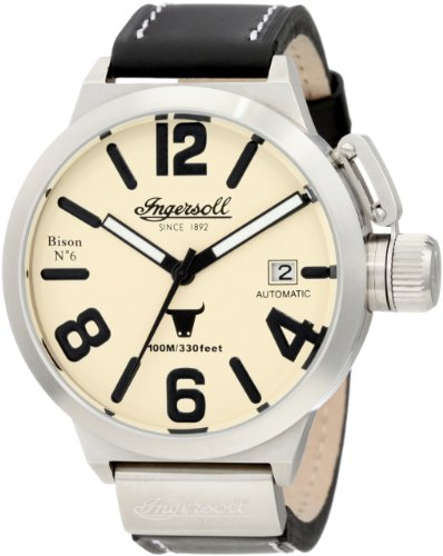 Ingersoll Men's Automatic Watch IN8900SCR With Cream Dial And Black Strap Leather