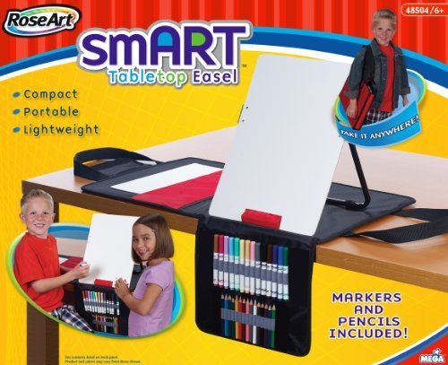 Very Compact - RoseArt smART Tabletop Easel with Markers and Pencils Included, Packaging May Vary