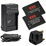 EZOPower 2 x Battery + Travel Charger Kit for Panasonic DMW-BCL7 and Lumix DMC-XS3, XS1, SZ8, SZ9, SZ3, FS50, F5 Digital Camera with UK Plug