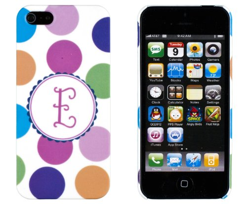 """Polka Dot Monogram """"E"""" Embossed Slim Fit Hard Case For Apple Iphone 5S / 5 (At&T, Verizon, Sprint, International) - Includes Dandycase Keychain Screen Cleaner [Retail Packaging By Dandycase] front-701525"""