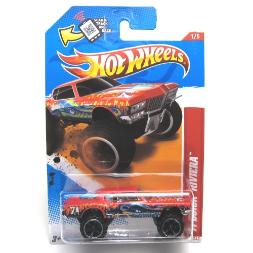 2012 Hot Wheels Thrill Racers - Prehistoric '71 Buick Riviera Red #216/247 - 1