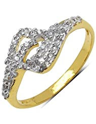 Silver Selection 1.40 Grams White Cubic Zirconia Gold Plated Brass Ring For Women Size 6 - B00F2BAIL8