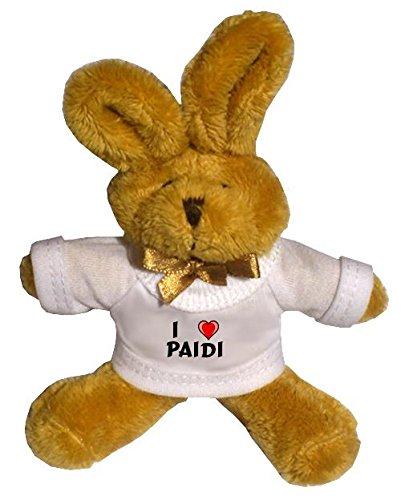 Plüsch Hase Schlüsselhalter mit T-shirt mit Aufschrift Ich liebe Paidi (Vorname/Zuname/Spitzname)
