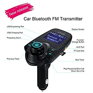 Otium® FM Transmitter T11 New Version Wireless In-Car Bluetooth Receiver Stereo Radio Adapter Car Kit Hands Free Calling with Dual USB Car Charger Ports for Smartphones, Tablets, TF Card, MP3 and More