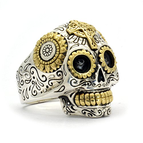 Sterling Silver Biker Sugar Skull Ring