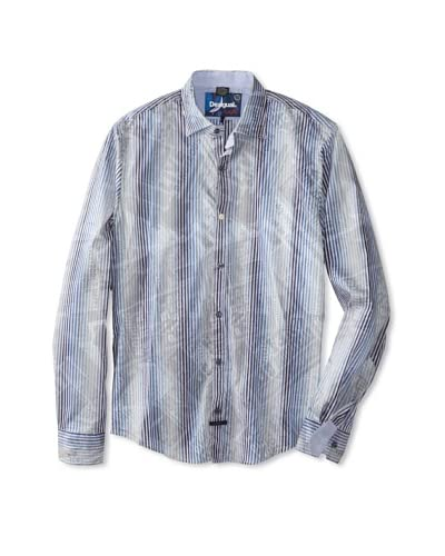Desigual Men's Newspaper Stripes Long Sleeve Woven Shirt