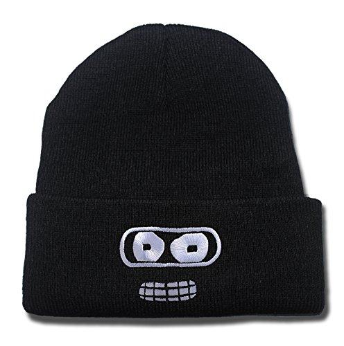 HAIHONG Futurama Bender Face Logo Beanie Fashion Unisex Embroidery Beanies Skullies Knitted Hats Skull Caps