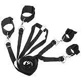 VOSO - Women's Men's Sex Toy Under Bed Restraint Bondage Cuffs Strap Kit Set Black