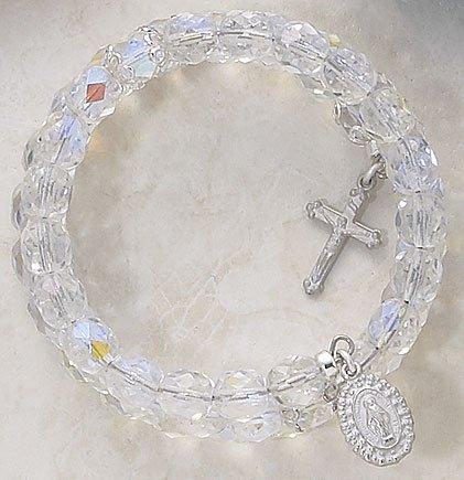 Aurora Borealis Wrap Around Five Decade Catholic 6MM Rosary Bracelet Fine Religious Jewelry
