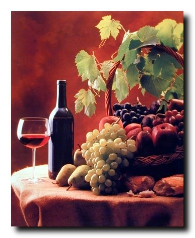 Wine & Fruit (Grapes and Apples) Still Life Kitchen Decor Art Print Poster (16x20) (Grape Wine Posters compare prices)