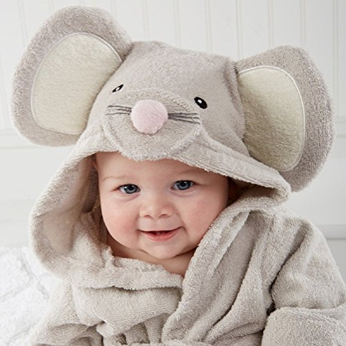 Baby Hooded Towels Squeaky Clean Mouse Spa Bathrobe,grey,0-12 Months