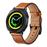 Kartice for Gear Sport Band ,20MM Samsung Gear Sport Bands Luxury Genuine Leather Strap with Easy Adjustable Metal Buckle for Gear sport & Ticwatch E Band(Brown)