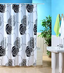 Black Silver White Metallic Flower Polyester Shower Curtain With Hooks