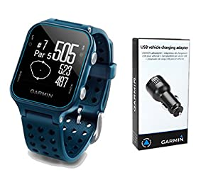 Garmin Approach S20 Golf GPS Watch (Midnight Teal) with USB Car Charge Adapter | Activity Tracker, Smart Notifications & 40,000+ Worldwide Courses