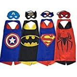 Superhero Dress Up Costumes - 4 Satin Capes and 4 Felt Masks