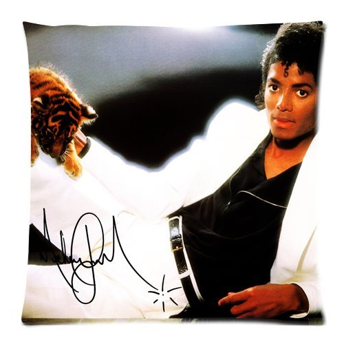 """Generic Custom Michael Jackson Dressed In A White Lying Suit Little Tiger Signature Black Background Zippered Pillow Case 18""""X18""""(Two Sides) front-231907"""