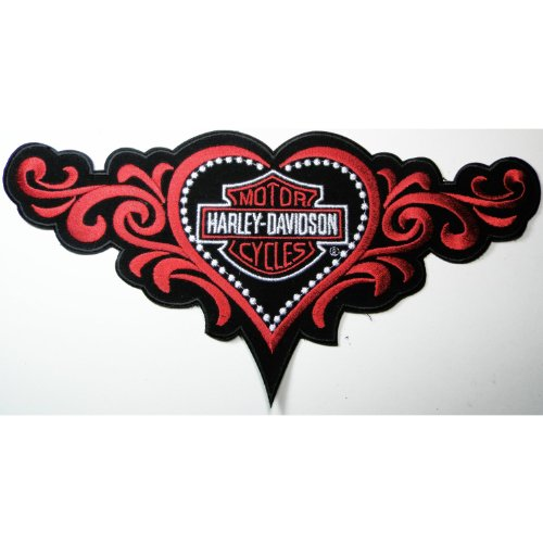 Harley Davidson big patches Motorcycle biker with lady heart Embroidered Iron on Patch 28x14 cm
